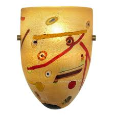 yellow unique art glass wall sconce abstract bacteria oggetti lighting italian modern artistic satin nickel finished