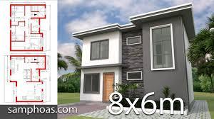 Plan 3D Home Design 8x6m with 3 Bedrooms - SamPhoas Plansearch | Small  house design plans, House plans, Small house design