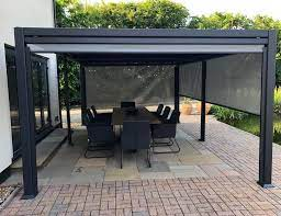 garden gazebo with a slatted roof