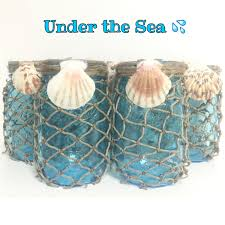 Nautical Decor Under The Sea Mason Jars Nautical Decor Ocean Jars Aqua