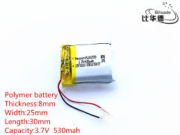 <b>5pcs 3.7V</b>,530mAH,802530 PLIB polymer <b>lithium</b> ion / <b>Li ion</b> battery ...
