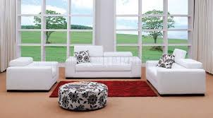 white fabric 3pc modern living room set w ottoman