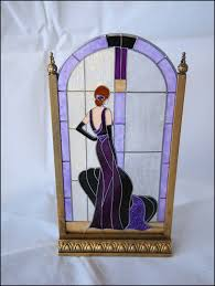 art deco purple lady stained glass screen by barbara sabia to enlarge
