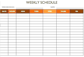Blank Employee Schedule Template Weekly Work Entire 5 Days Optional