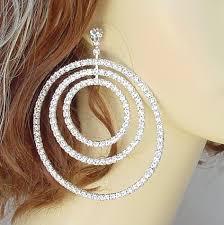 je 182 large rhinestone chandelier 3 hoop earrings