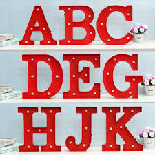 LED Night Light Lamp Kids Marquee Letter Lights Vintage Alphabet Light Up Christmas Party Wall Decoration
