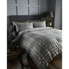 bedmaker arran charcoal tartan check brushed cotton duvet set