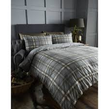 bedmaker arran charcoal tartan check brushed cotton duvet set