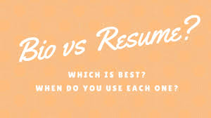 Resume Bio Example Best Bio Vs Resume What's The Difference And Which Is Best