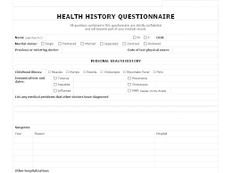 medical health history form health form template free medical release form free health history