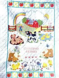 Stamped Embroidery Crib Quilt Top Cross Stitch Baby Quilts Sale ... & Bucilla Baby Cross Stitch Quilts Rare Barb Sestok Farm Babies Crib Quilt  Stamped Crossstitch Kit Cross ... Adamdwight.com