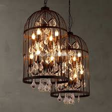 Decorative Hanging Light Fixtures Vintage Industrial Pendant Light Bird Cage With Crystal