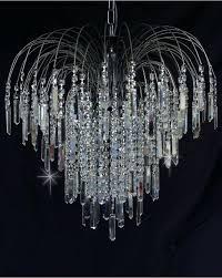 crystal waterfall chandelier antique nickel 6 light swarovski in