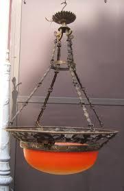 acanthus leaf chandelier bronze art nouveau nineteenth vasque glass tint
