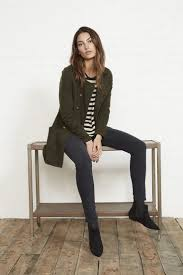 women s olive pea coat white and black horizontal striped long sleeve t shirt charcoal skinny jeans black suede chelsea boots women s fashion