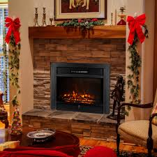 decdeal embedded electric fireplace insert heater led glass view adjule