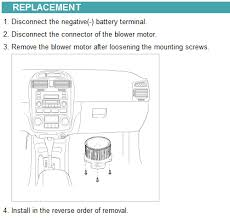 2006 kia spectra its not blowing the air vent this shows the which terminal on blower is positive and which is negative