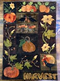 283 best wool felt appliqué images on Pinterest | Wool applique ... & Wool Applique Pattern - Harvest Wall Quilt - Choice of Pattern Only or  Pattern with Wool Kit Adamdwight.com