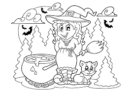 Halloween Witch And Cat Coloring Page