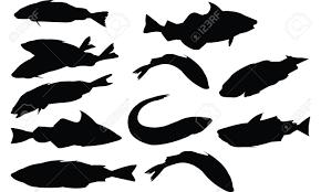 タラ魚シルエット ベクトル図