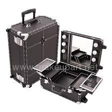 mini studio makeup case w lights mirror black faux leather