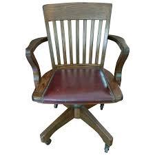 vintage jasper seating co solid wood leather banker office desk swivel chair