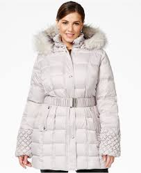 Betsey johnson Plus Faux-fur-trim Quilted Belted Puffer Coat in ... & Gallery Adamdwight.com