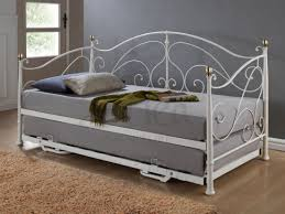 metal daybed. Wonderful Metal Grey Modern Metal Daybed With Trundle  Fashionable And Functional Intended