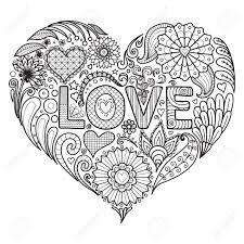 花とテキストの恋などなどカード大人の塗り絵の心臓形状設計