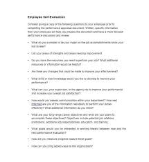 Review Employee Employee Performance Review Self Assessment Template Sample