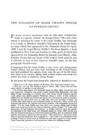 the occasion of mark twain s speech on foreign critics springer court trials in mark twain and other essays