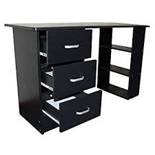 white desk with drawers and shelves. Brilliant With Redstone Black Computer Desk  3 Drawers  Shelves Home Office Table  Workstation For White With And