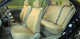 cream beige leather look car seat covers set