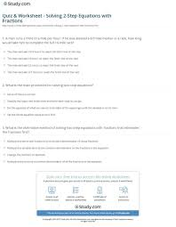 quiz worksheet solving 2 step equations with fractions study com simultaneous kuta 960