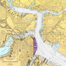 Massachusetts Boston Charlestown East Boston Chelsea Nautical Chart Decor