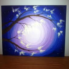 16x20 original acrylic painting on canvas panel purple blue twilight night sky flowering tree via
