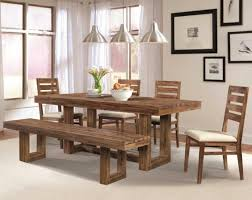 dining room ideas chrome triple pendant lights over rectangular dining table set and bench