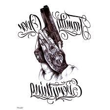 Rodina Aver Všechno Vodotěsné Dočasné Tetování Muži Pistole Falešné