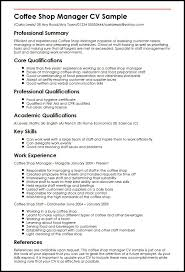 Coffee Shop Manager Cv Sample | Myperfectcv