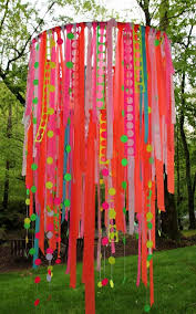 ribbons tied to a hoop make a pretty chandelier the tutorial can be found at shannon berrey