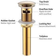 Vanity Vessel Sink Drain Angle Simple Brass Pop Up Drain Stopper