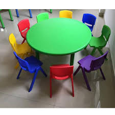 9 seater plastic kindergarten round table and chair