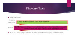topic and the representation of discourse content ppt video discourse topic a stitch in time saves nine what does that mean