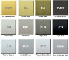 Stainless Steel Finish Chart Dorallock Hardware Finish Colors Doorware Com