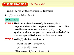 guided practice for example 2 find all zeros of the polynomial function 3