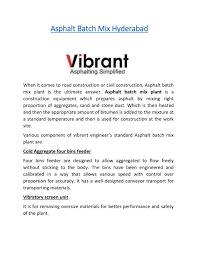 Bitumen Sand Mix Design Ppt Asphalt Batch Mix Hyderabad Powerpoint Presentation