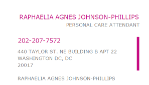 1013475284 NPI Number | RAPHAELIA AGNES JOHNSON-PHILLIPS | WASHINGTON DC,  DC | NPI Registry | Medical Coding Library | www.HIPAASpace.com © 2020