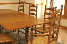 beau antique solid cherry dining room set 92 drop leaf table 8 ladder