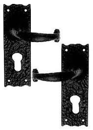 rustic door handles with euro lock black cast iron
