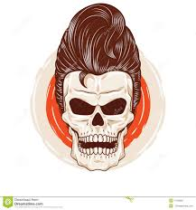 Pompadour Skull Head Stock Vector Illustration Of Crest 57439821